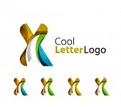 pic of letter x  - Set of abstract X letter company logos - JPG
