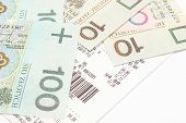 pic of receipt  - Closeup of banknotes lying on receipt finance concept - JPG