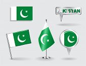 image of pakistani flag  - Set of Pakistani pin - JPG