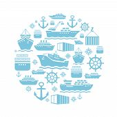 pic of ship  - Ship and boat icons background - JPG