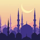 image of moon silhouette  - Ramadan vector greeting card with silhouette of mosque and moon - JPG