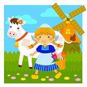 foto of windmills  - cartoon Dutch girl walking next to a cow and a windmill - JPG