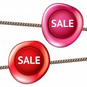 pic of wax seal  - Sale design vector isolated sign bright realistic pink and red wax 