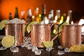 stock photo of vodka  - Cold Moscow Mules  - JPG