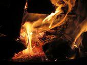picture of bonfire  - Closeup of bonfire or campfire at campsite - JPG
