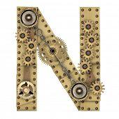 picture of letter n  - Steampunk mechanical metal alphabet letter N - JPG