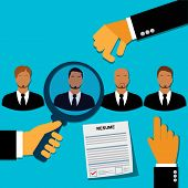 stock photo of recruiting  - vector illustration of employee recruitment concept in flat style for web - JPG