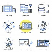 Постер, плакат: Web Development And Design Vector Icons Set