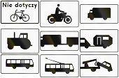 stock photo of traffic sign  - Collection of Polish traffic sign additional panels with various vehicles - JPG