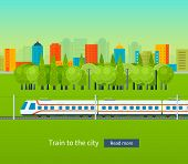 stock photo of passenger train  - Flat design modern vector illustration icons set of urban landscape and train on railway - JPG
