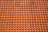 stock photo of roof tile  - Old Roof Tile Pattern as Construction Industry Background - JPG