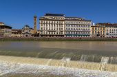 picture of dam  - view of embankment of Arno river and dam Florence - JPG
