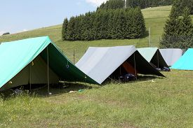picture of boy scout  - tents of a campsite of the boy scouts in the mountains - JPG