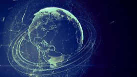 picture of network  - 3d illustration of detailed virtual planet Earth - JPG