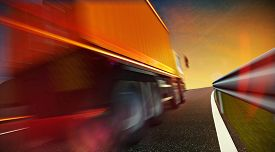 foto of trucks  - 3d illustration of Speeding Transportation Semi Truck with Container driving on highway road on sunset - JPG