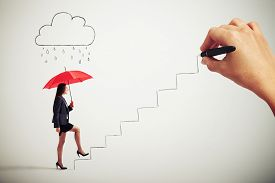 stock photo of follow-up  - smiley businesswoman with red umbrella under drawing cloud with drops following up stairs which drawing big boss - JPG
