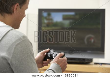 poster of Man Playing With Game Console