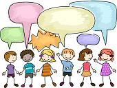 Illustration of a Group of Kids Talking