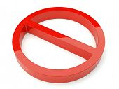 3d forbidden sign isolated on the white background