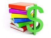 3d dollar with pile of books isolated on the white background