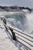 Niagara Falls Footpath In Winter Time.