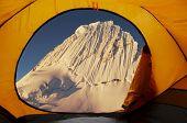 View on the Alpamayo peak of tent
