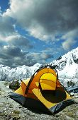Yellow tent in the mountain