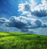 stock photo of grassland  - Green grassland and storm cloud - JPG