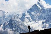 Climber in Himalayan mountain