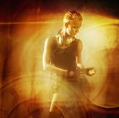 Attractive steam punk girl against abstract background