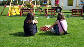 Girls Sitting On Grass Watching Swing Boats