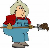 foto of turds  - This illustration depicts a man holding a shovel full of crap - JPG