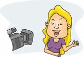 Illustration of a Girl Speaking in Front of a Camera