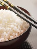 Bowl of Koshihikari Rice with chop sticks