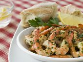 Dish of Garlic Buttered Tiger Prawns with Rustic Bread
