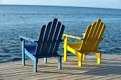 Colorful Chair Pair With Picturesque Ocean Vista View