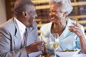 Senior Couple Having Dinner Together At A Restaurant