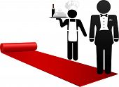 People Roll Out Red Carpet Welcome Hotel Hospitality