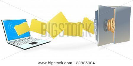 Постер, плакат: Портативный компьютер безопасной передачи файлов, холст на подрамнике