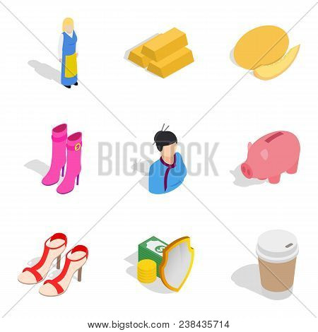 Virgin Icons Set Isometric Set