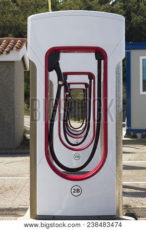Charging Tesla Pump Station For