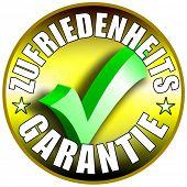 Zufriedenheit Garantie/Schaltflächenbezeichnung, deutsche Version
