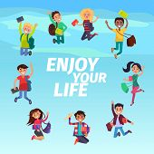 Bouncing Students Hovering In Sky Enjoy Your Life On Blue Background. Young People With Backpack Or  poster