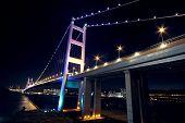stock photo of tsing ma bridge  - bridge at night Tsing ma bridge in hong kong - JPG