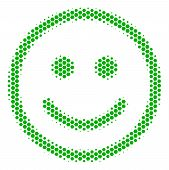 Halftone Hexagon Glad Smiley Icon. Pictogram On A White Background. Vector Collage Of Glad Smiley Ic poster