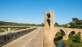 A view of the medieval bridge of Besalu, Spain
