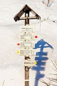 guidepost at Serlich, Orlicke Mountains, Czech Republic
