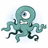 image of kraken  - A cyclops squid or octopus swimming around in the ocean - JPG