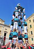 TARRAGONA, SPAIN - SEPTEMBER 23: Castells on September 23, 2011 in Tarragona, Spain. Every September
