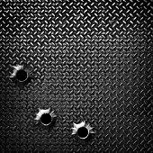 placa de diamante com buraco de bala